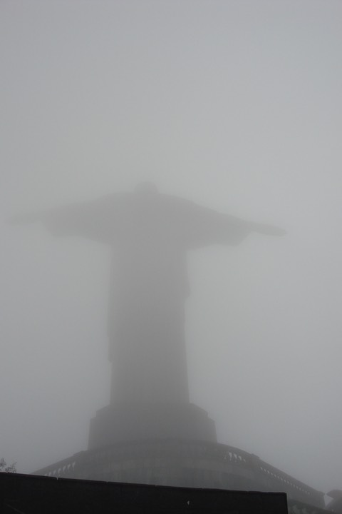 Christ the Redeemer statue in the clouds